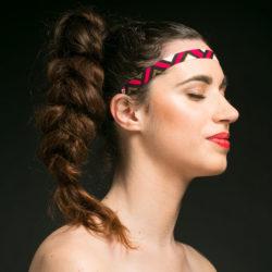 Headband Zapatane - Tissu Wax Rose/Noir