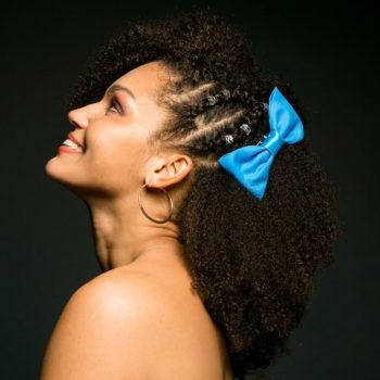 Noeud Olivia - Tissu Uni Turquoise