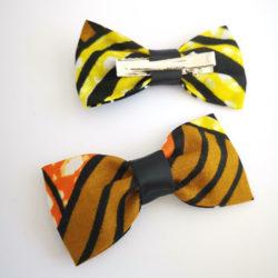 Mini noeud Olivia - Wax Jaune Orange