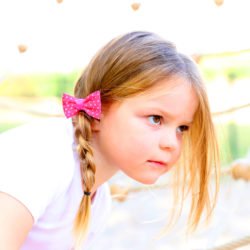 Noeud Olivia Enfant - Rose pois blancs
