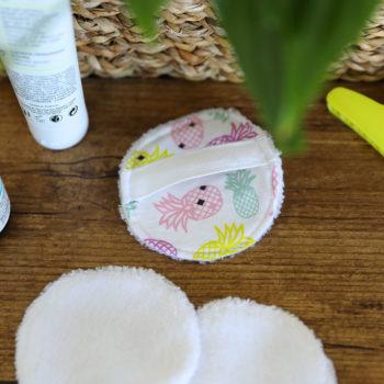Disque démaquillant lavable - Imprimé ananas Rose