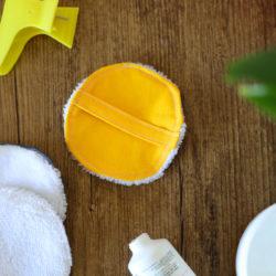 Disque démaquillant lavable - Uni Jaune