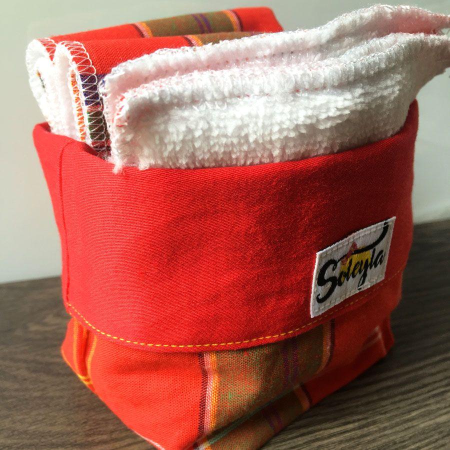 Lingettes lavables personnalisés madras Rouge Soleyla®