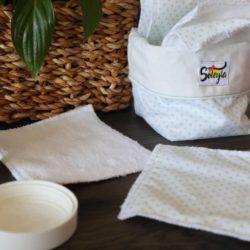 Lot de lingettes lavables - Blanc pois Vert d'eau