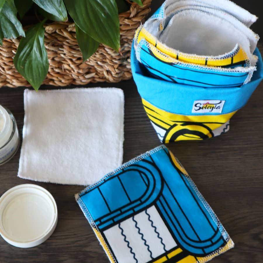 Lot de lingettes lavables - Wax Jaune et Bleu