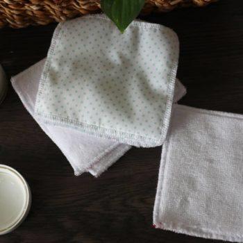 Lingette lavable - Blanc pois Vert d'eau