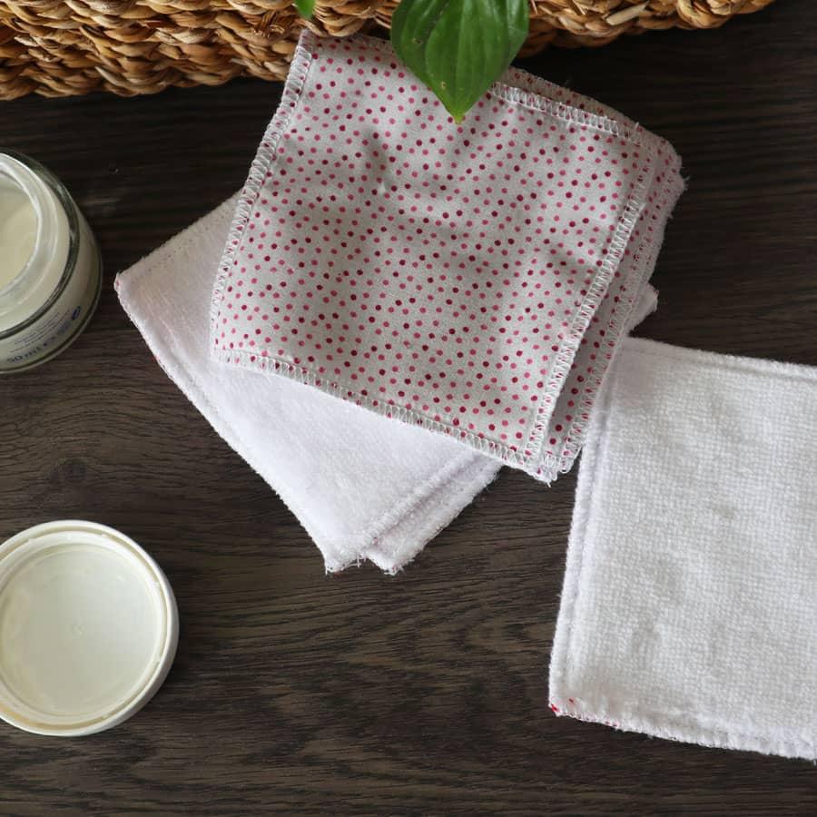 Lingette lavable - Gris pois Rose